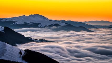 Foto op Canvas Meloen Splendid sunrise in the Carpathian Mountains. Bieszczady National Park. Poland.