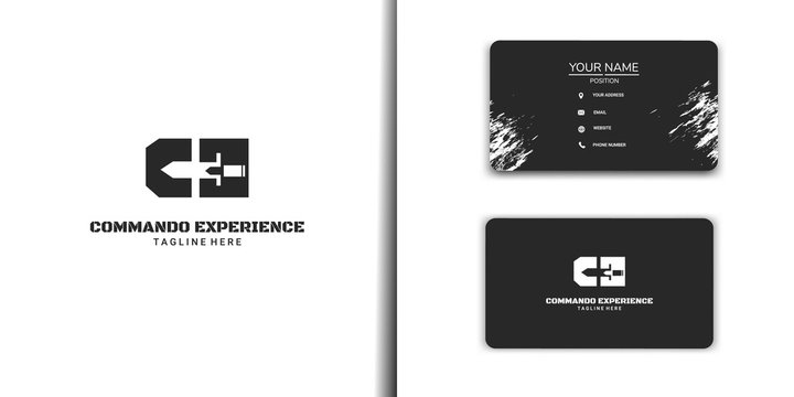 CE Initial logo design. Initial logo with negative space of knife. logo set with business card