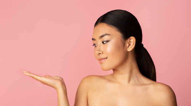 Look at this product! Girl demonstrating something on her palm