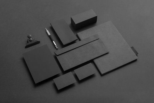Real photo, black stationery branding mockup template, on black background to place your design.