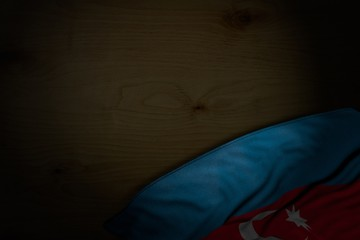 cute memorial day flag 3d illustration. - dark picture of Azerbaijan flag with big folds on dark wood with empty place for content