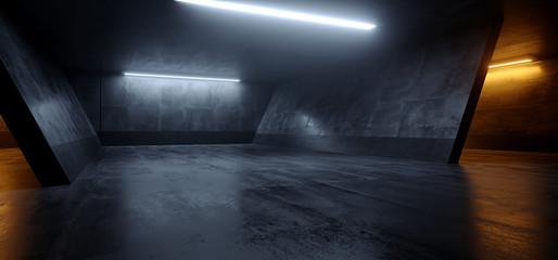 Cement Dark Grunge Orange White Glowing Led Parking Underground Car Warehouse Garage Studio Rough Modern Reflective Spaceship Tunnel Corridor Showcase 3D Rendering Fototapete