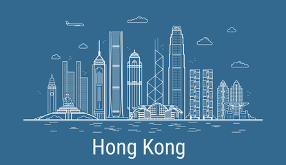 Hong Kong city line art vector. Illustration with all famous buildings. Cityscape.  Fotomurales
