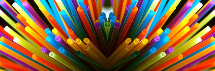 Wall Mural - colored straws for drinks, panoramic image, accessories for summer cocktail