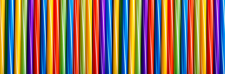 Wall Mural - Many different colored plastic drinking straws vertically arranged, panoramic image