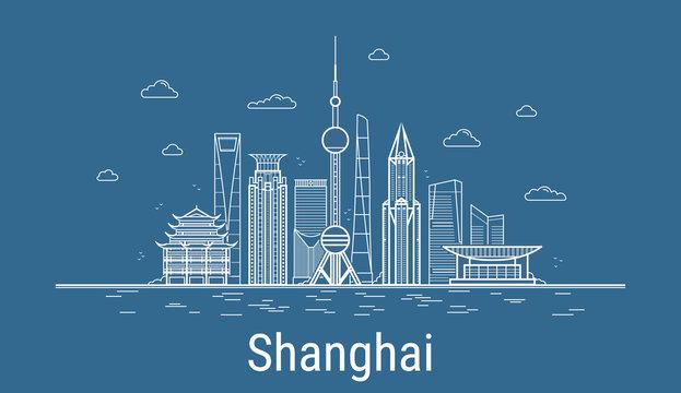 Vector Shanghai City. All Shanghai famous buildings. Line art style. Skyline.