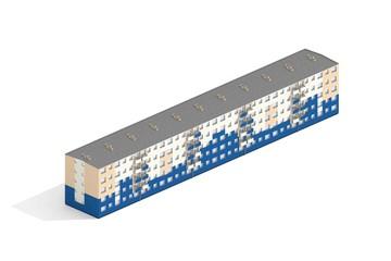 Apartment House 3d Model Rendered on White Background - fototapety na wymiar