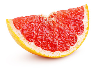 Slice of grapefruit citrus fruit isolated on white background. Grapefruit slice with clipping path. Full depth of field.