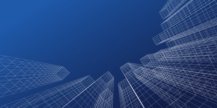 Abstract architectural background. Linear 3D illustration. Vector