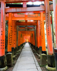 Fushimi Inari Shrine in southern Kyoto, famous for its thousands of vermilion torii gates