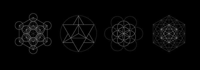 Mystical sacred geometry vector symbos set. Spirituality, harmony concept