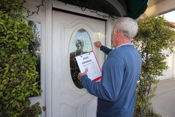 Man taking census, door to door