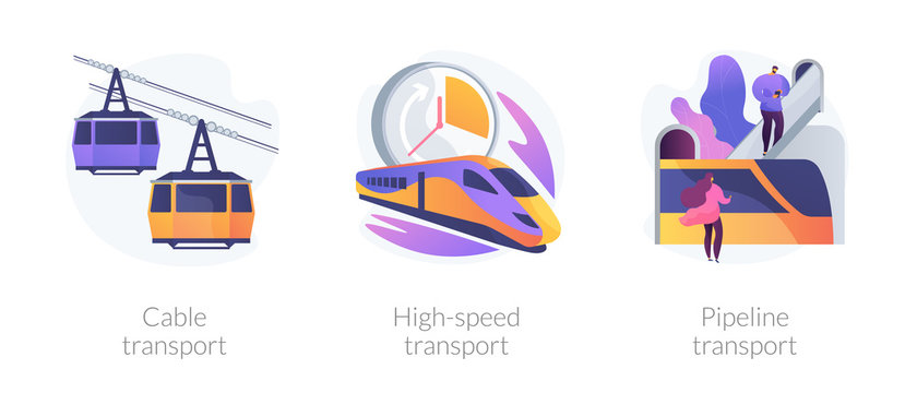 Long distance passenger vehicles cartoon icons set. Public subway. Cable transport, high-speed transport, pipeline transport metaphors. Vector isolated concept metaphor illustrations.