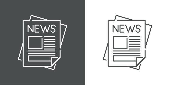 Símbolo noticias. Icono plano lineal hojas de periódico en fondo gris y fondo blanco