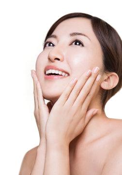 Beautiful Asian woman isolated on white background. Japanese skincare image.