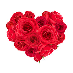 Vector Valentine's day heart of red roses isolated on a white background.