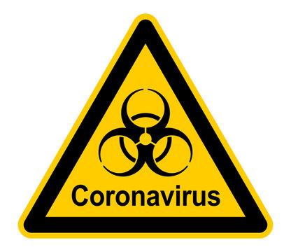wso455 WarnSchildOrange - Warnzeichen - german text - Coronavirus. - Warnung vor Infektionsgefahr - english - infection risk / virus infection / corona virus. - xxl g8956