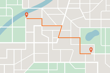 City map navigation route. Finding the way concept. Vector illustration.
