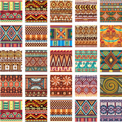 Set of seamless color ethnic tribal pattern