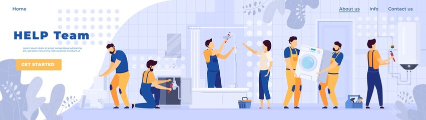 Repair service plumbers worker people in bathroom, vector illustration. Professional team of handymen, cartoon characters. Bathroom furniture installation, sanitary equipment maintenance. Plumber in