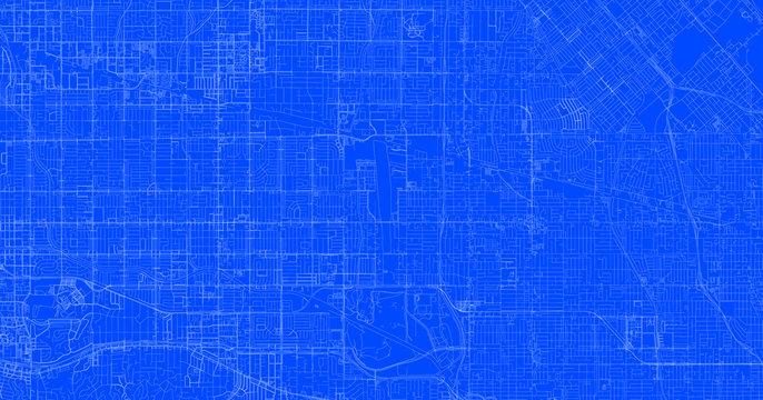 Blueprint of Los Angeles city, One Color Map, color change, Artprint