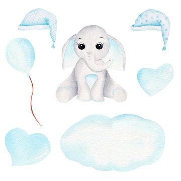 Sleepy baby elephant hand drawn raster illustration