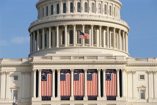 Capital Building draped with US flags, Washington, DC