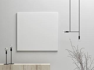 Fototapeta Mock up poster with minimalism background, 3d render 3d illustration