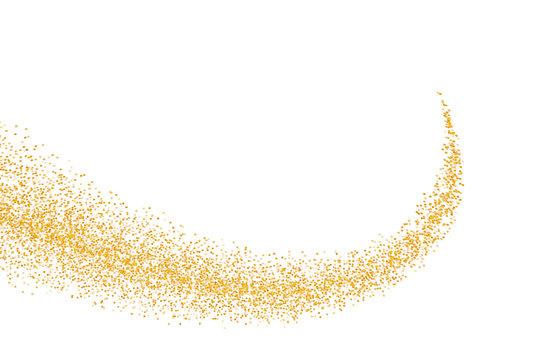 Glittering golden stream of sparkles. Abstract vector illustration of golden glitter stream isolated on white background.