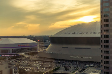 New Orleans, LA, USA: New Orleans Skyline with Mercedes-Benz Superdome and Smoothie King Center in New Orleans Lousiana