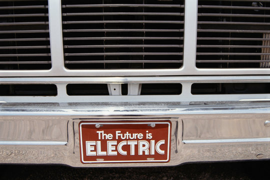 License plate from electric car