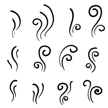 hand drawn Aroma smell icon. Set of smoke vector icon. Smoke, steam, aroma, smell. Vector illustration. doodle
