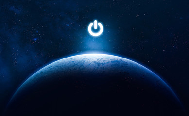 Planet Earth and electric power button. Earth hour event. Ecology. Elements of this image furnished by NASA