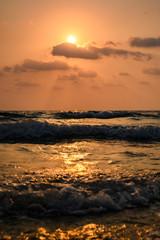 Beautiful sunset above sea.