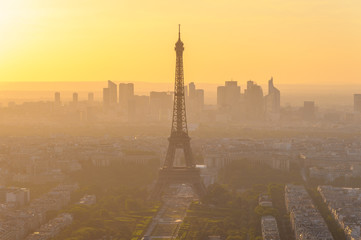 cityscape of paris in the dusk with eiffel tower