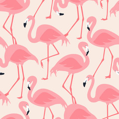 Canvas Prints Flamingo Vector seamless pattern with flamingos