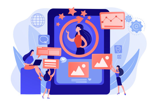 PR managers team working, personal development. Online identity management, digital Identity management, product web presence concept. Pink coral blue vector isolated illustration