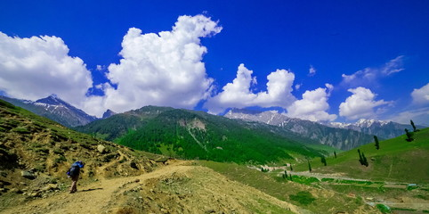 Beautiful landscape view of Sonamarg in Thajiwas park in Jammu and Kashmir, India