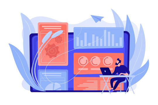 Digital marketing strategist working with digital technologies and media. Attribution modeling, brand insight and measurement tools concept. Pinkish coral bluevector isolated illustration