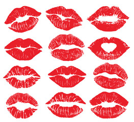 Lipstick kiss print isolated vector big set. red vector lips set. Different shapes of female sexy red lips. Sexy lips makeup, kiss mouth. Female mouth. Print of lips kiss vector background.