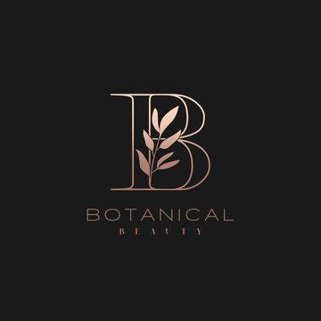 Letter B Botanical Elegant Minimalist Signature Logo