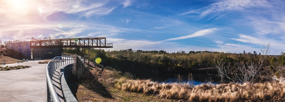Beautiful park with a bridge in Winston Salem, North Carolina