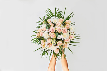 Luxurious bouquet on white background. Fotobehang