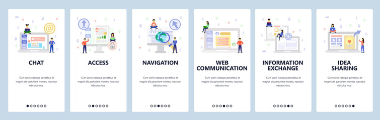 Wall Mural - Online chat and web support, secure access, communication and shate information. Mobile app onboarding screens. Menu vector banner template for website and mobile. Web site design flat illustration