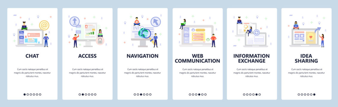 Online chat and web support, secure access, communication and shate information. Mobile app onboarding screens. Menu vector banner template for website and mobile. Web site design flat illustration