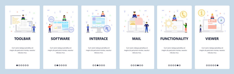 Wall Mural - Computer technology icons, interface, software development. Mobile app onboarding screens. Menu vector banner template for website and mobile development. Web site design flat illustration