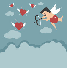 Cupid try to keep hearts flying on the clouds for Valentine's day