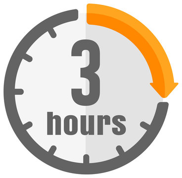 Timer, clock vector color icon illustration ( 3 hours )