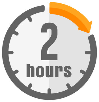 Timer, clock vector color icon illustration ( 2 hours )