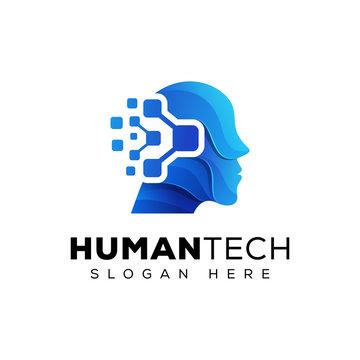 Human technology/ human digital, robot tech logo design